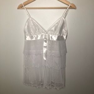 Frederick's of Hollywood White Sheer Teddie Size M